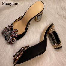 Butterfly Shoes Wedding-Sandals Gold Slippers Customized High-Heel Women Gemstone MA120516