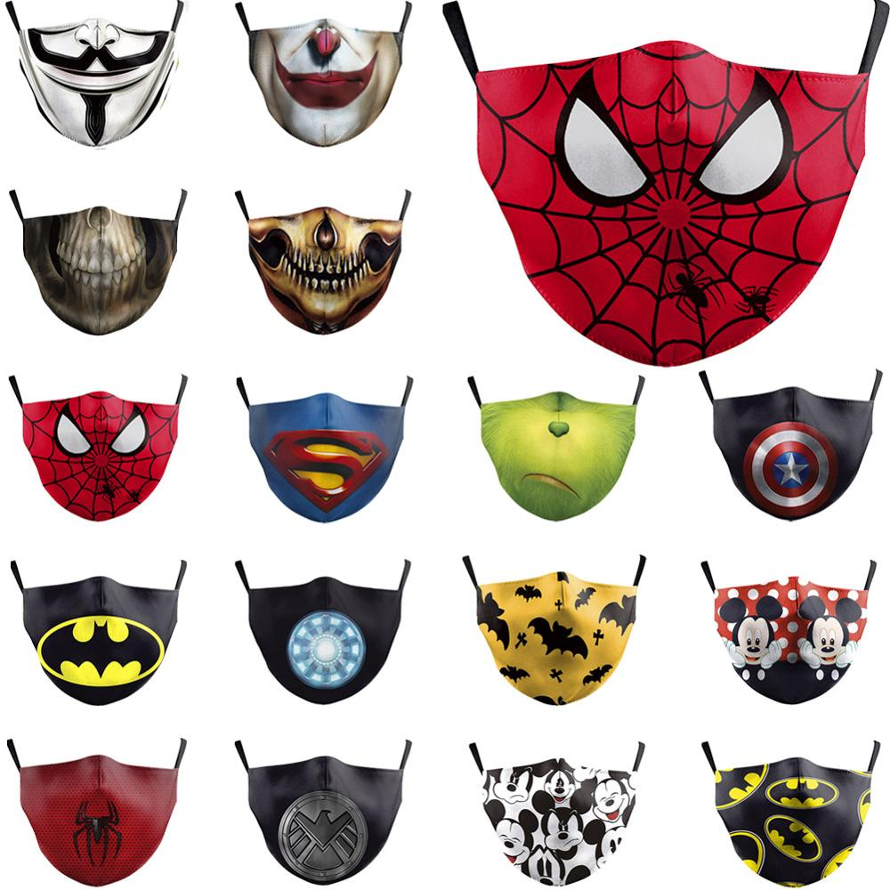 PM2.5 Face Adult Mask Children Mask Anime Print Spiderman Grimace Mask Reusable Filter Pad Pollution Activated Carbon Kids Masks