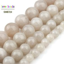 Silver Grey Jades Beads for Jewellery Making 15 Inch DIY Bracelets for Women 6/8/10/12mm(China)