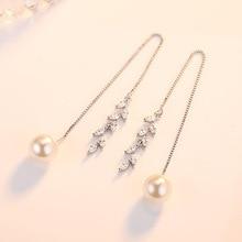 Silver Color Cubic Zirconia Long Drop Leaf Earrings For Women Pearl Earings Fashion Jewelry  Accessory