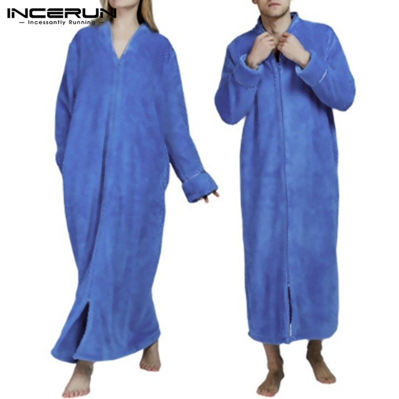 INCERUN Fashion Flannel Robes Men Nightgown Long Sleeve Solid Cozy V Neck Bathrobe Winter Warm Ladies Coral Fleece Robes S-5XL