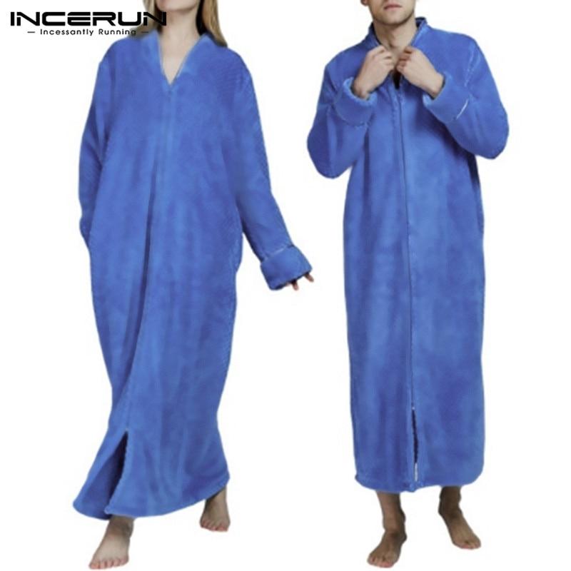 INCERUN Fashion Flannel Robes Men Nightgown Long Sleeve Solid Cozy V Neck Bathrobe Winter Warm Ladies Coral Fleece Robes S-5XL