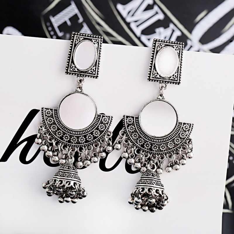 OIQUEI Egipto geométrica campanas caída borla pendientes Jhumka de plata oxidado étnicos afganos turco pendiente de la joyería de plata para las mujeres