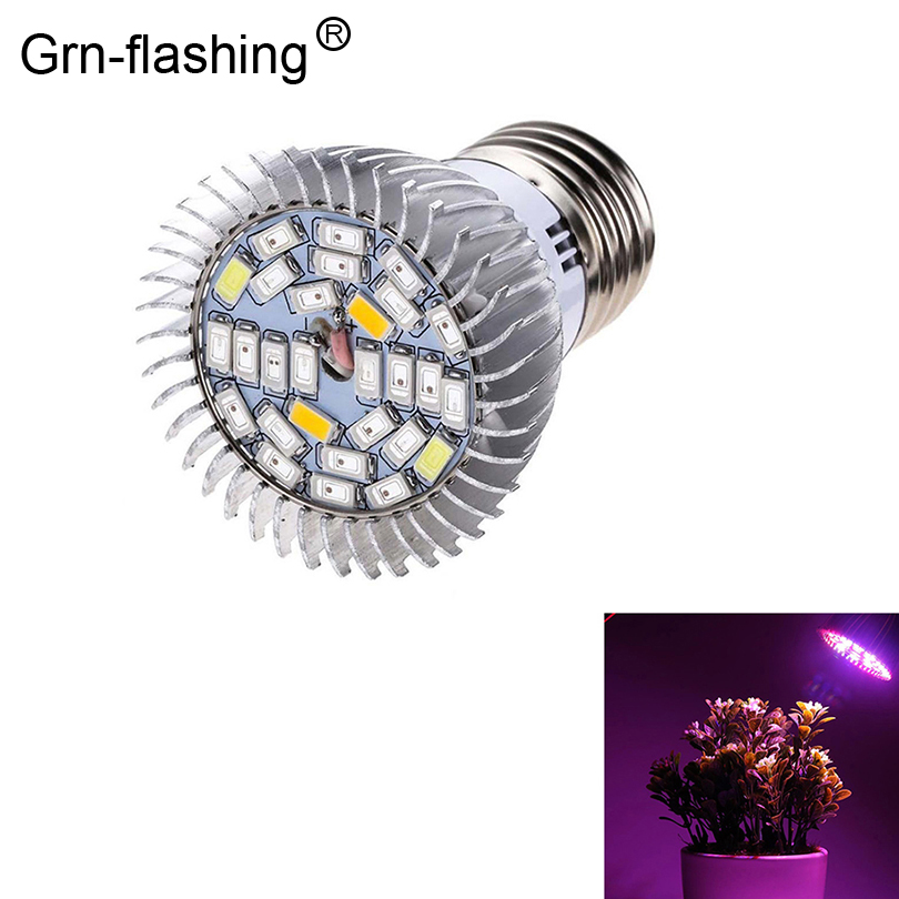 Grnflashin Full Spectrum E27 18leds 28leds LED Grow Light Alloy Casing AC85-265V LED  Lamp Bulb For Flowering Plant Seed Growing