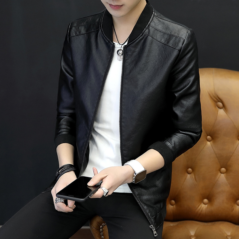 MEN'S Coat Spring And Autumn New Style Korean-style Trend Slim Fit Handsome Leather Coat Autumn Baseball Collar Thin Jacket