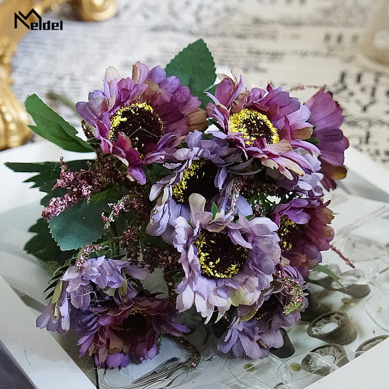 Purple Silk Daisy Artificial Flores Small Bouquet Arrangement Fake Flower Gerbera DIY Home Hotel Party Wedding Table Decor Flore