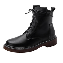 Black Boots Motorcycle-Shoes Military Fashion Women Vintage Female Autumn Winter Snow