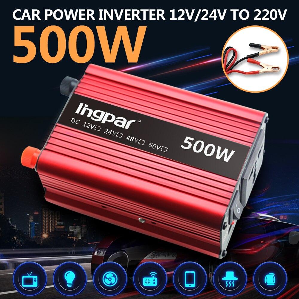 Lingpar 500 Вт Мини Инвертор Трансформатор напряжения постоянного тока в переменный 12 в 24 В до 220 В модифицированный синусоидальный