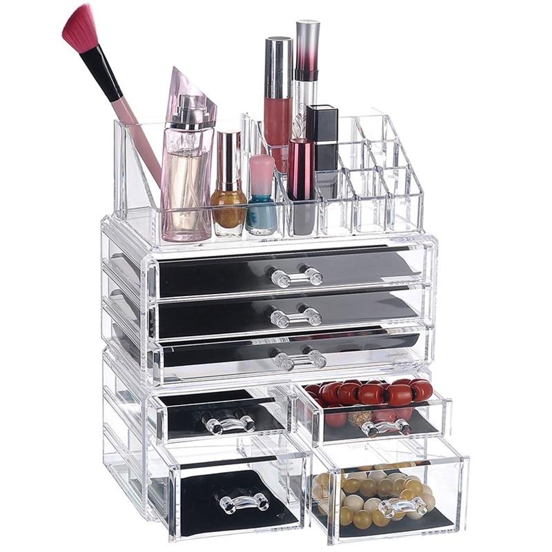 Nieuwe Nieuwe Clear Acrylic Make Organizer Grote Capaciteit Opbergdoos Lippenstift Houder Drawers Make Up Organizer Cosmetische Brush Tool - 4