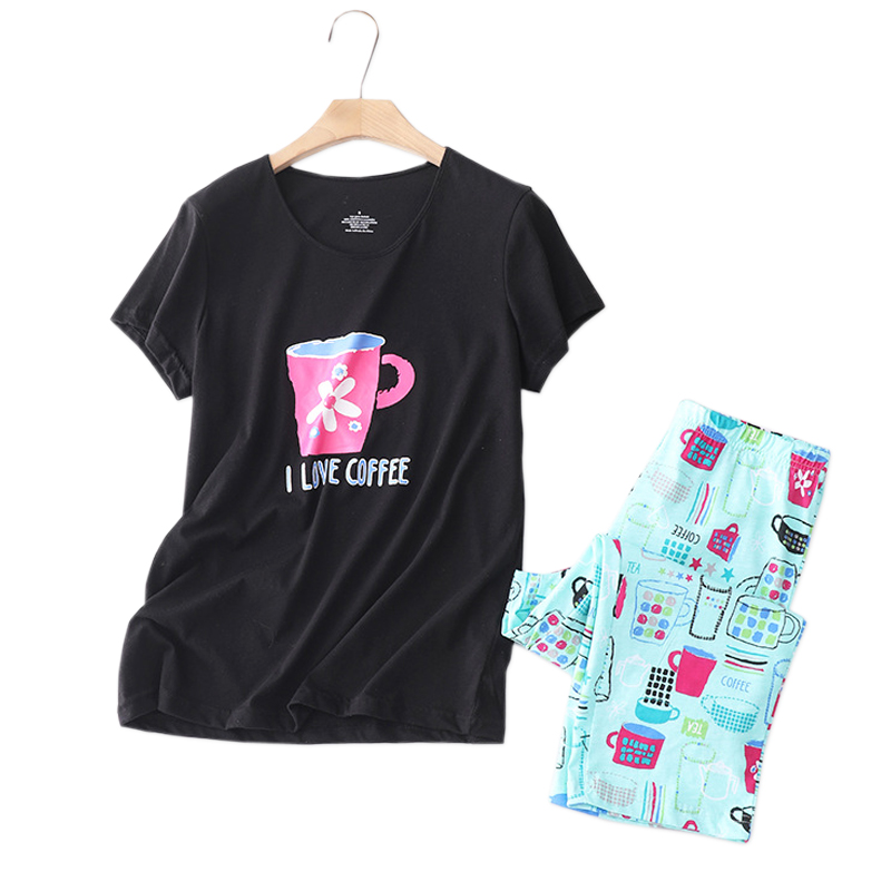 Short sleeve cropped trousers pajamas sets women summer Plus size 5XL 130kg Korea 2 piece pyjamas women sleepwear|Pajama Sets| - AliExpress