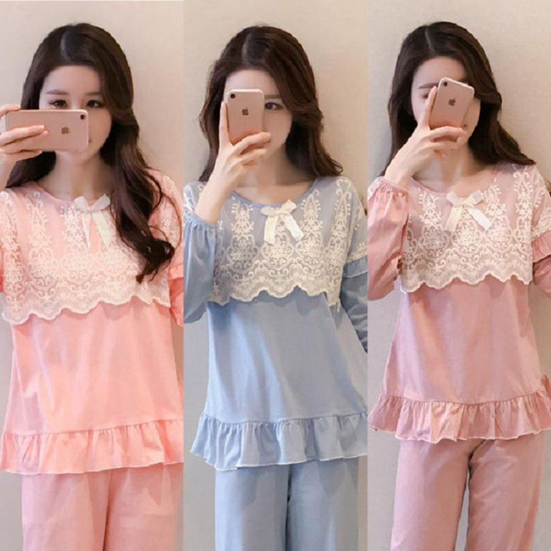Spring And Autumn Pajamas Women's Princess Style Lace Long Sleeve Korean-style Solid Color Thin Sweet Home Wear Two-Piece Set