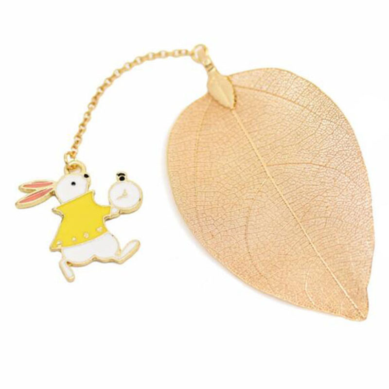 School Stationery Festival Gift Metal Bookmarks For Books Cartoon Leaf Office Accessories Rabbit