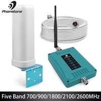 Beş bantlı 700/900/1800/2100/2600MHz hücresel gsm sinyal güçlendirici yüksek kazanç 70dB cep telefonu 2G 3G 4G LTE amplifikatör tekrarlayıcı seti