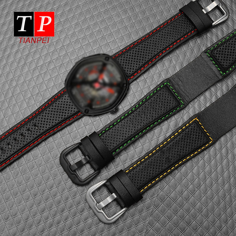 Simplicity Leather Watch Band For Dietrich OTC-AO1 OT-3 Waterproof 24mm Watch Strap Black Watch Bracelet Cowhide Wristwatches