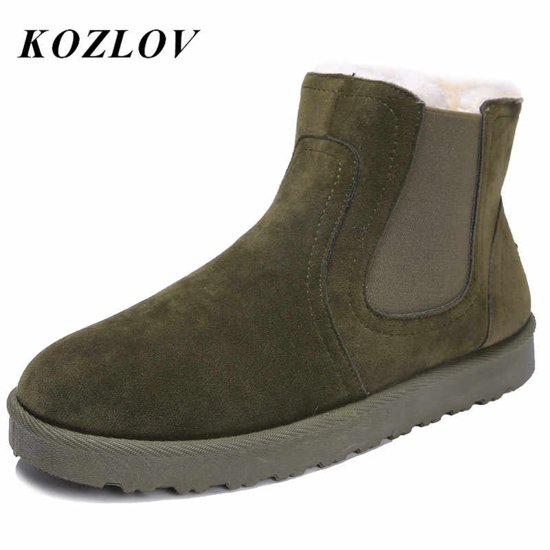 Winter Chelsea Stiefel Männer Luxus Marke Paare Super Warm Schnee Pelz Stiefeletten Für Männer Liebhaber Schuhe Casual Espadrilles Bot KOZLOV