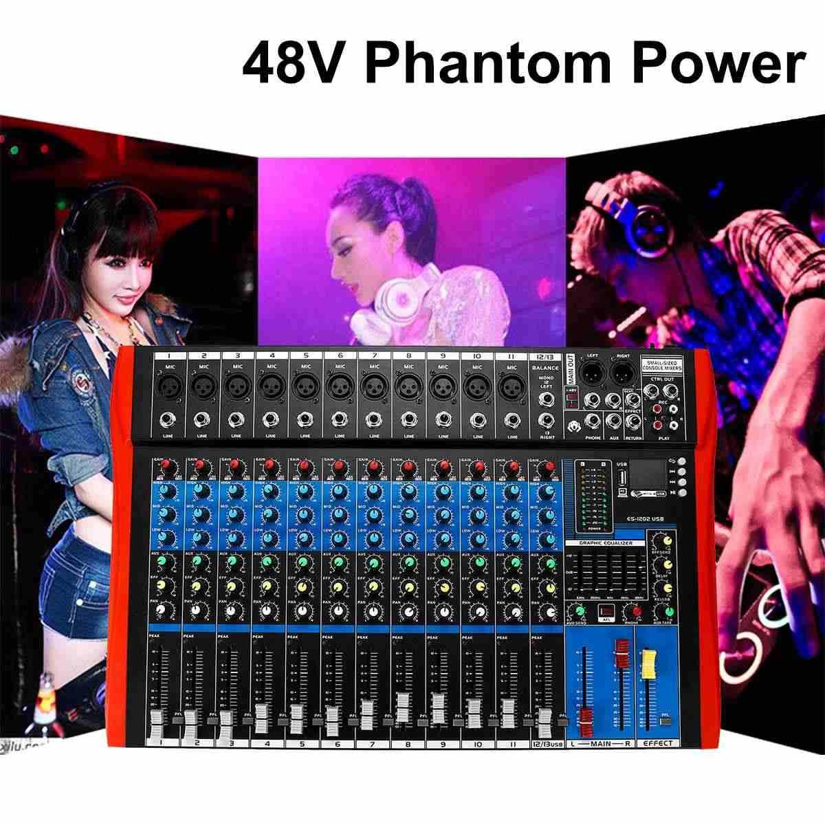 48V オーディオミキサー usb プロ 12 チャンネル bluetooth スタジオ Dj ミキシングコンソールカラオケアンプデジタル KTV サウンドミキサー