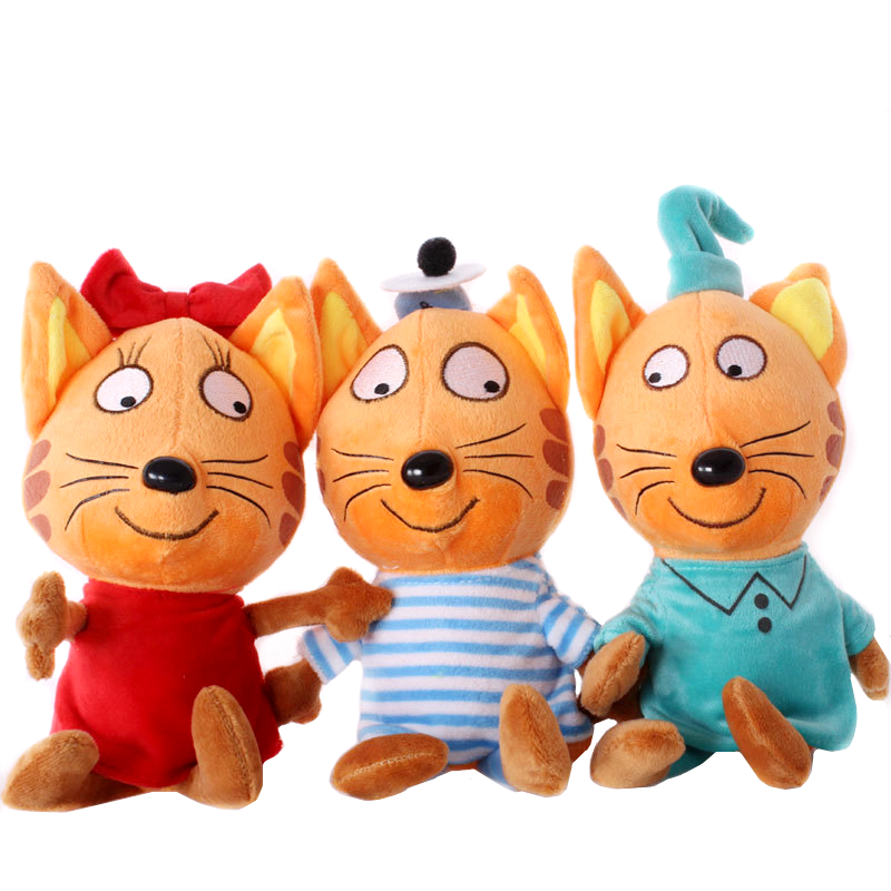 New 20cm/30cm Russian Kid E Cats Three Happy Cats Cookie Candy Pudding Cute Animal Plush Dolls Baby Toys Kids Birthday Gift