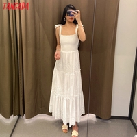 Tangada Women Embroidery Romantic Cotton Dress Bow Sleeveless Backless 2021 Summer Fashion Lady Boho Dresses Vestido 6H57 2