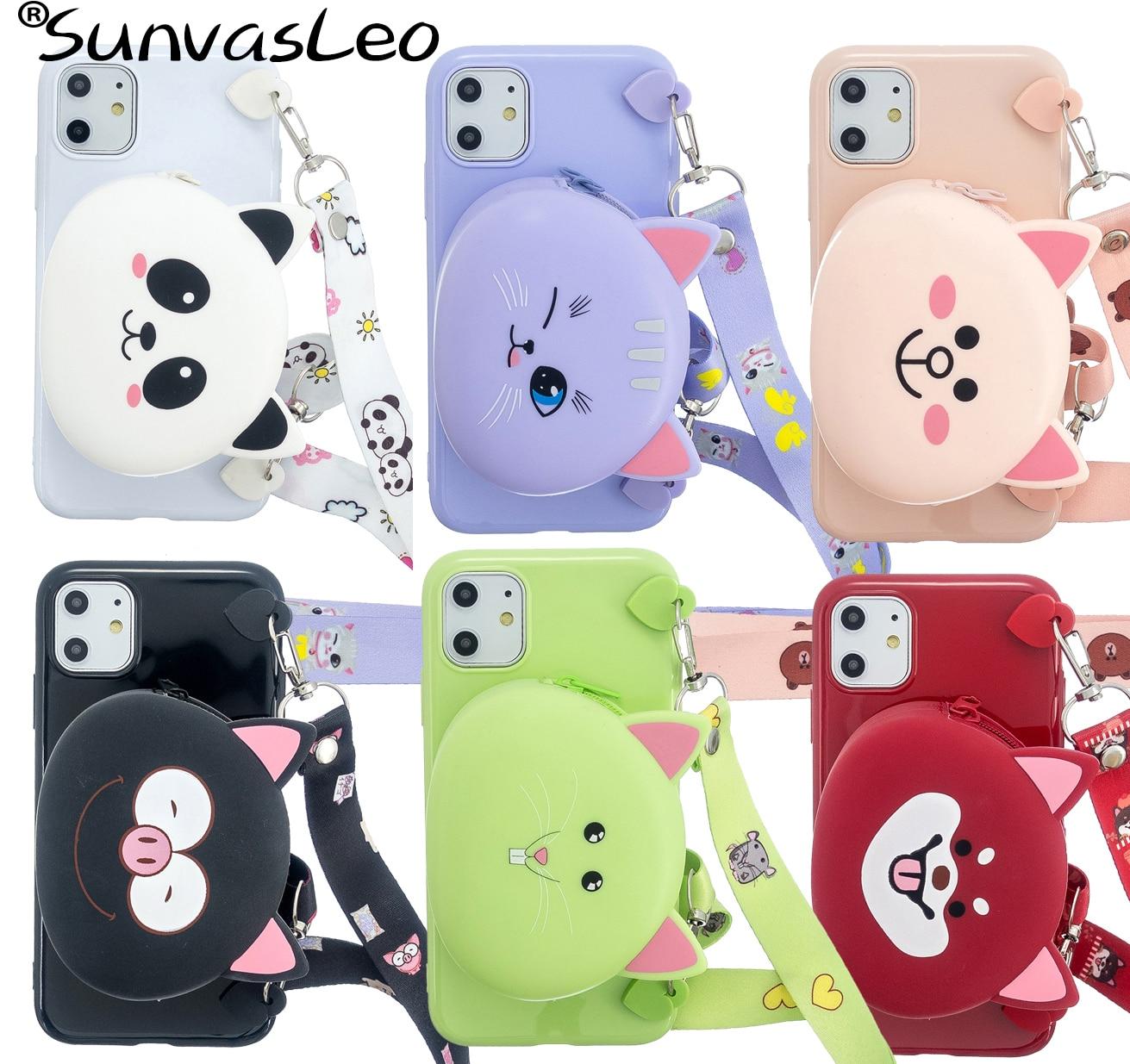 For iPhone 5 5s SE 6 6s 7 8 Plus X XS XR XS Max 11 11 Pro Max 3D Cartoon Animal Soft Silicone Purse Case Wallet Cover Strap Bag
