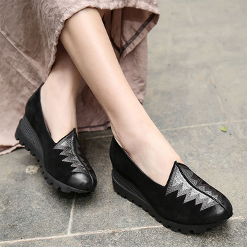 VALLU 2020 spring new embroidery retro matte increased national style thick bottom comfortable single shoes outdoor leisure
