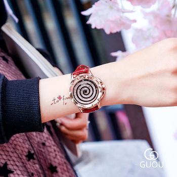 Luksusowe damskie zegarki z diamentami kreatywne spiralne zegarki kwarcowe damskie wodoodporne skórzane zegarki na rękę kobiety proste kobiece zegary tanie i dobre opinie ddiezn QUARTZ Klamra STAINLESS STEEL 3Bar Moda casual 18mm ROUND 13mm Odporny na wstrząsy Odporne na wodę Hardlex GU6605_4