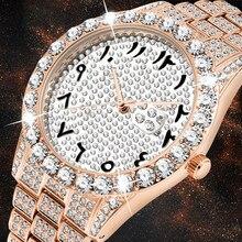 Arabic Numerals Inlaid Diamond Watch Men Rose Gold Luxury Brand Watch 3Atm Japan Movt FF Unique Men Wrist Watch Dropshipping