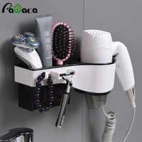 Support de sèche-cheveux mural support de sèche-cheveux peigne support de rasoir organisateur multifonctionnel pour brosse à dents, cosmétique, fer à friser