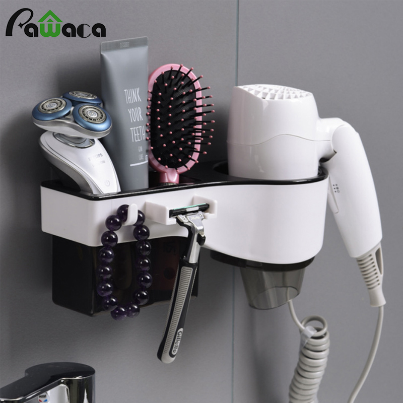 Wall Mount Hair Dryer Holder Hair Dryer Rack Comb Shaver Holder Multifunctional Organizer For Toothbrush, Cosmetic, Curling Iron