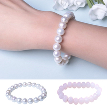 Natural Round White Freshwater Pearl Bracelet for Women Elasticated jewelry