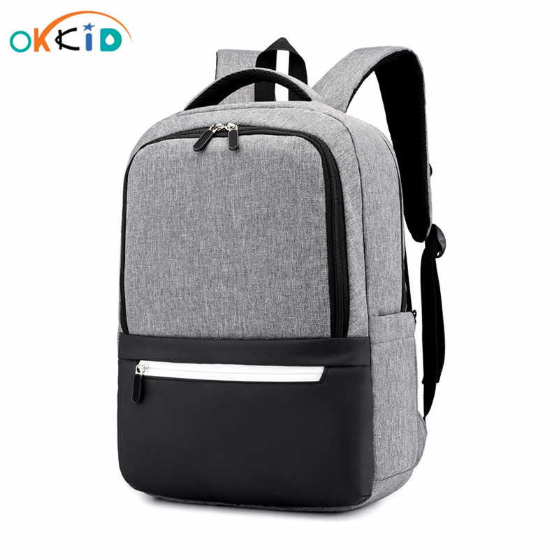 OKKID minimalist black school backpack for boy waterproof laptop backpack anti theft book bag pack kids school bag dropshipping