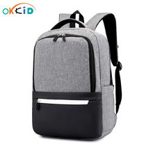 OKKID minimalist black school backpack for boy waterproof laptop backpack anti theft book bag pack kids school bag dropshipping(China)