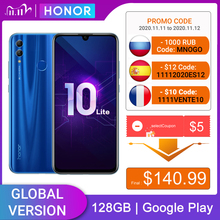 هاتف Honor 10 Lite الإصدار العالمي 128GB هاتف محمول بشاشة 6.2 بوصة 3400mAh نظام أندرويد 9 كاميرا 24 ميجابكسل هاتف ذكي مع تحديث Google Play OTA