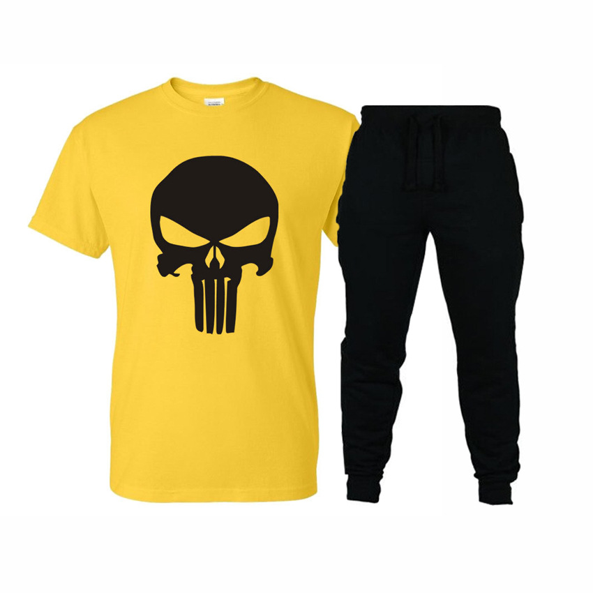 2019 New Style Leisure Suit Fashion And Personality Skull Printing Short-sleeved T-shirt Sports Casual Trousers Set