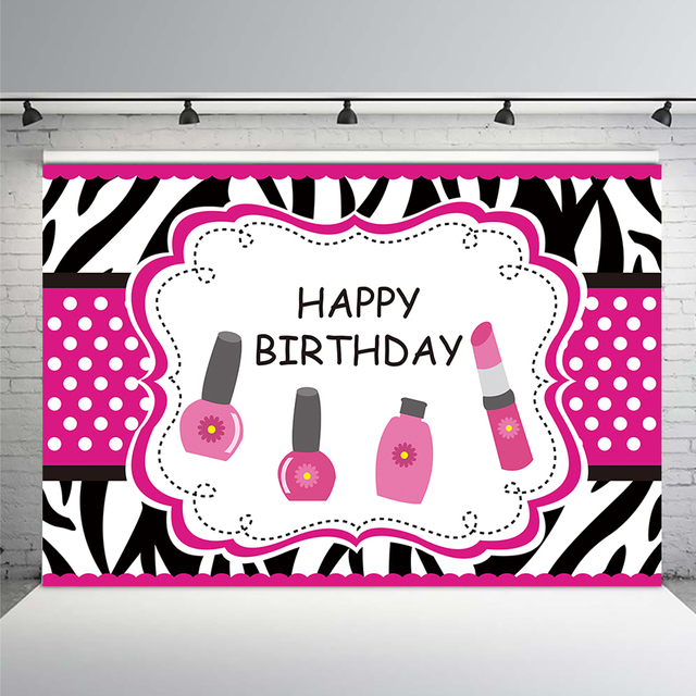 Beauty Girl Birthday Party Backdrop Make Up Themed Background Photocall Photography Backdrop Scene Setter Wall Table Decorations