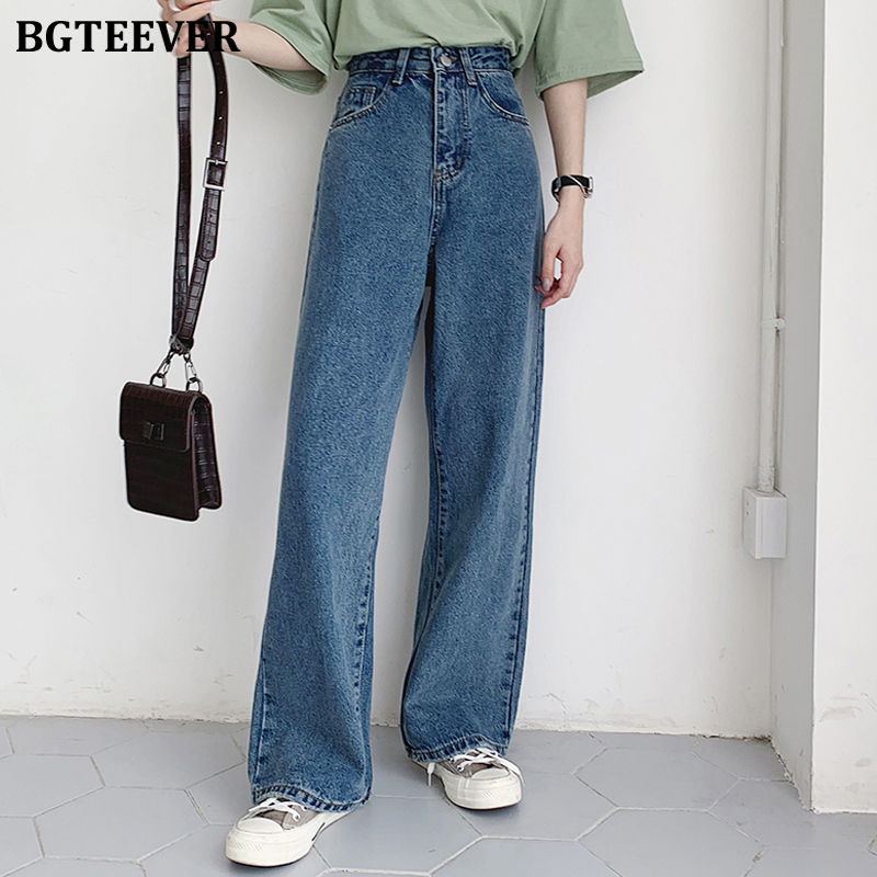 BGTEEVER Casual High Waist Loose Women Denim Jeans Streetwear Vintage Long Wide Leg Jeans Pants Female Trousers Capris 2020