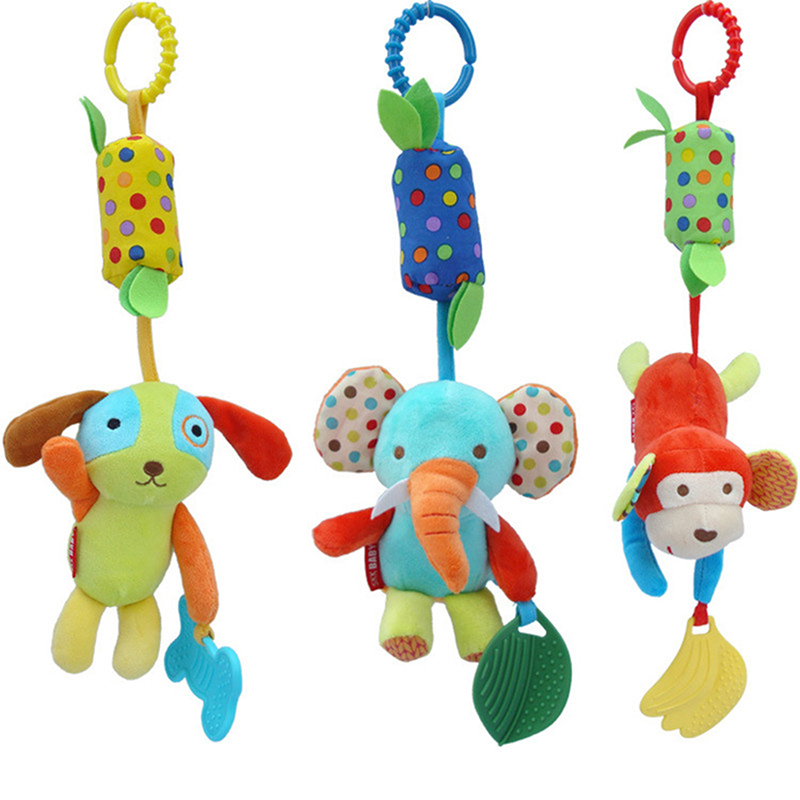 Animal Handbells Baby Toys 0-12 Months Infant Stroller Bed Musical Developmental Hanging Toy Bells Newbron Toys Rattles Mobile