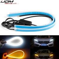 IJDM-tira de luces LED de xenón de 12-24 pulgadas, iluminación de Flash secuencial para faros de coche, 12V, DRL y amarillo ámbar