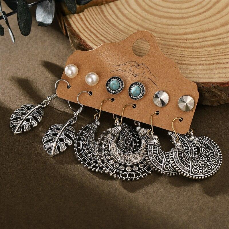 2020 New Bohemian Vintage Earrings Set For Women Trendy Ethnic Feather Sun Moon Drop Earrings Jewelry Female Fashion Statement