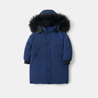 2020 new winter children's big fur collar down jacket boy middle aged boy loose thickened middle length baby parka waterproof ja
