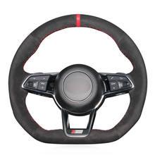 Ręcznie czarny z nitką zamszowa osłona na kierownicę do samochodu Audi TT (8S) 2014-2019 TTS 2014-2019 TT RS 2016-2019 R8 (4S) 2015-2019 tanie tanio CN (pochodzenie) Faux leather Kierownice i piasty kierownicy 0 35kg Feel comfortable and protect your steering wheel 16cm