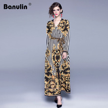 Banulin New Fashion Runway Plus size Maxi Dress Women's Long sleeve V-Neck Belted Stripe Printed Big Swing Vintage Long Dress plus size zebra stripe swing high low dress