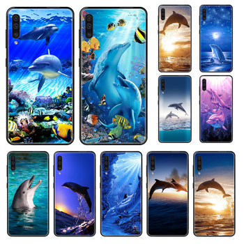 Colourful Cute Dolphin Phone case For Samsung Galaxy A 3 5 8 9 10 20 30 40 50 70 E S Plus 2016 2017 2018 2019 black soft prime image