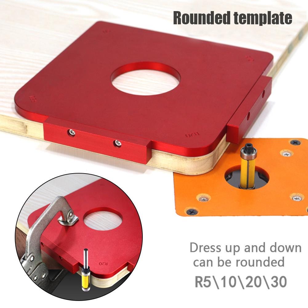 4 In 1 R5/R10/R20/R30 Router Temple Plate Wood Panel Radius R Plate Quick-Jig Router Table Bit Corner Jig Trimming Machine