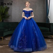 Mrs Win Бальные платья сексуальное бальное платье с v-образным вырезом винтажное кружевное платье с вышивкой для выпускного бала Формальное бальное платье плюс размер