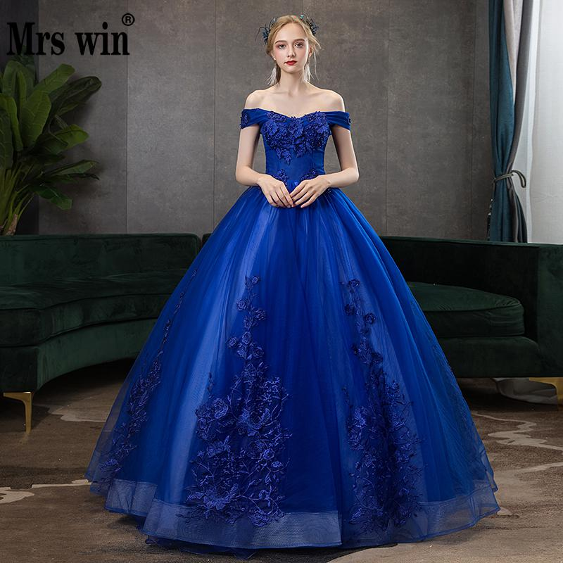 Mrs Win Quinceanera Dresses 2020 Sexy V-neck Ball Gown Vintage Lace Embroidery Party Prom Formal Quinceanera Dress Plus Szie