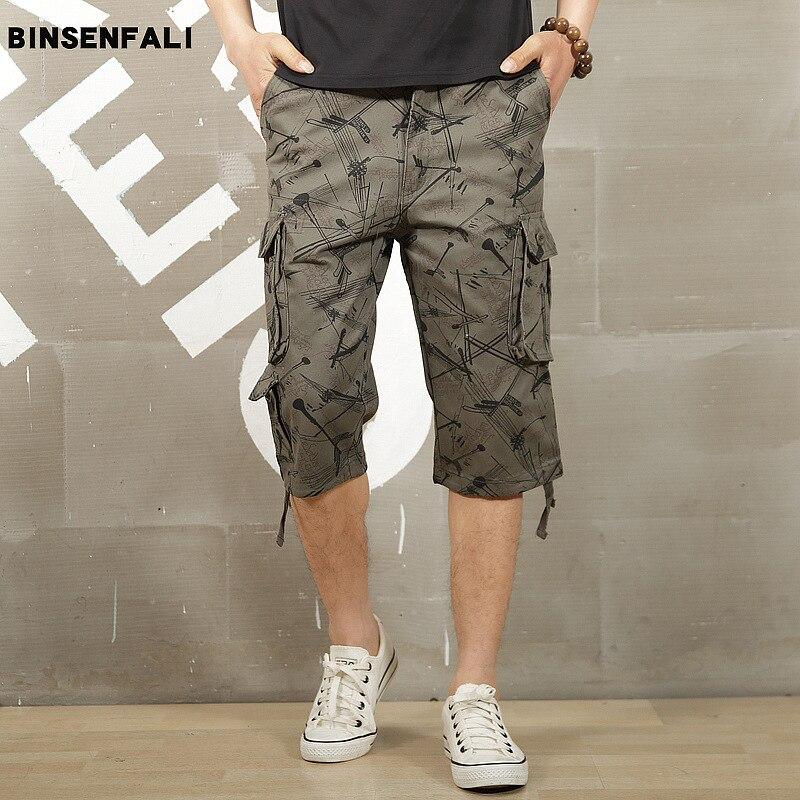 19 Men Thick Wear-Resistant Capri Pants Men's Outdoor Bib Overall Men's Middle Pants Breeches Multi-pockets Casual Shorts Men's
