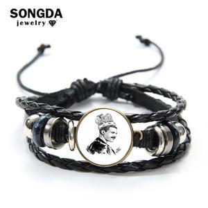 SONGDA Queen Band ведущий певец Фредди Меркурий браслет винтажный черный и белый с принтом стеклянный купол панк Многослойный кожаный браслет
