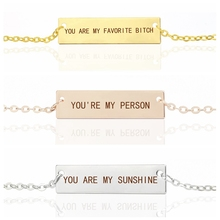 Silve/Gold/Rose Gold Custom Necklace you are my sunshine Vertical Engraved Letters Bar Necklace Stainless Steel Jewelry gold stainless steel you