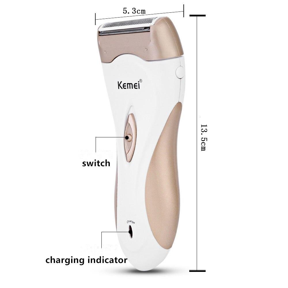 Kemei depilador elétrico feminino, recarregável, depilador, remoção