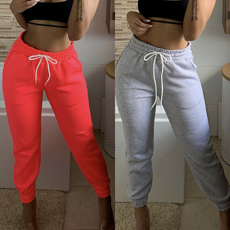 2020 Women High Waist Sport Long Pant Running Gym Stretch Trousers Casual Drawstring Joggers Sweatpants Cotton Pant 3 Colors New